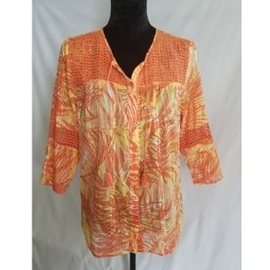 Alfred Dunner Womens Knit Embellished Orange Top